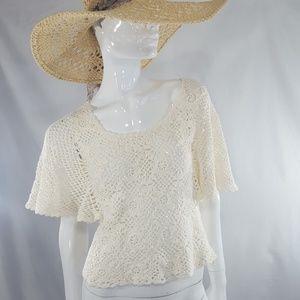 Vintage beige hippie boho crochet top